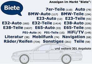 7-forum.com Markt-Startseite mit Überblick über Anzeigen im Markt Bereich Biete und Suche.