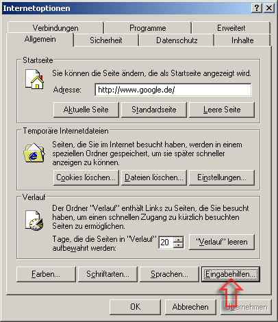 "Screenshot Dialog ""Internetoptionen"" im Internet Explorer"