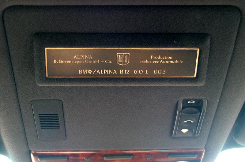 Alpina Serien-Nr. des B12 6.0 (E38) von Rainer Witt
