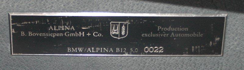 Alpina Serien-Nr. des Alpina B12 5.0 (E32) von Marco Woitag
