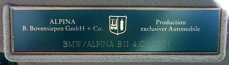 Alpina B11 4.0 Typschild