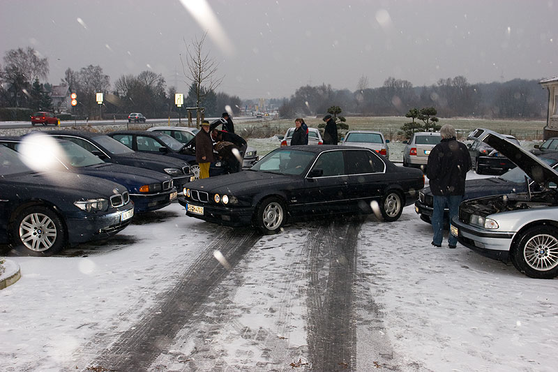 Stammtischparkplatz in Castrop-Rauxel bei leichtem Schneefall