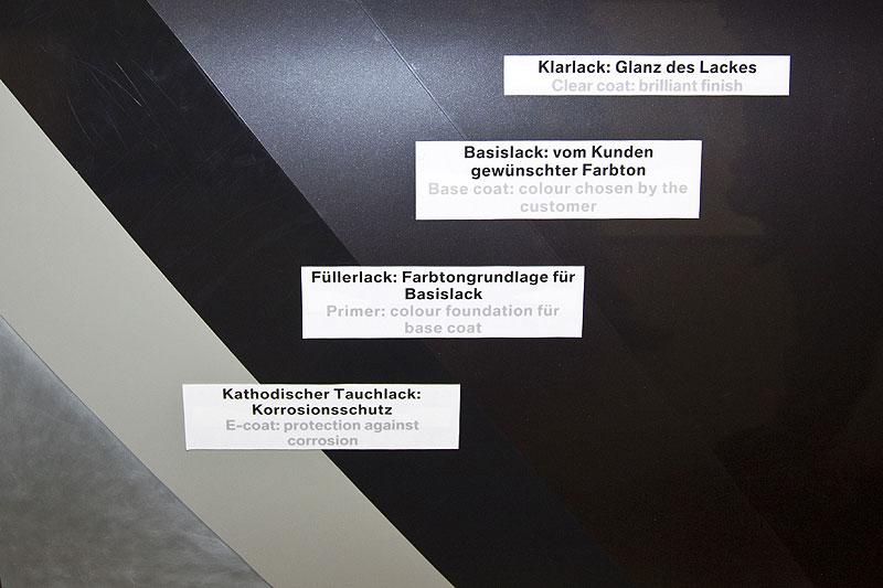 Visualisierung der vier verschiedenen Lack-Schichten, die jeder BMW in der Lackierer erhält