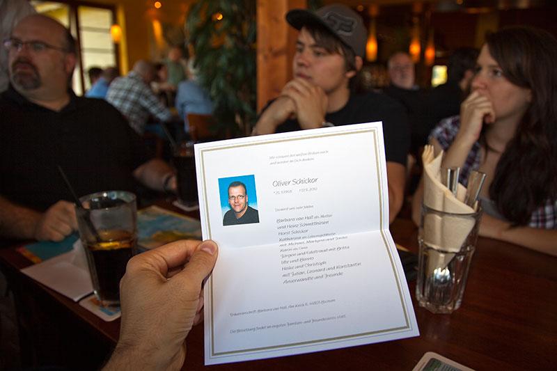 Trauerkarte von Oliver ('schiol') in der Stammtischlokalität Café del Sol in Castrop-Rauxel