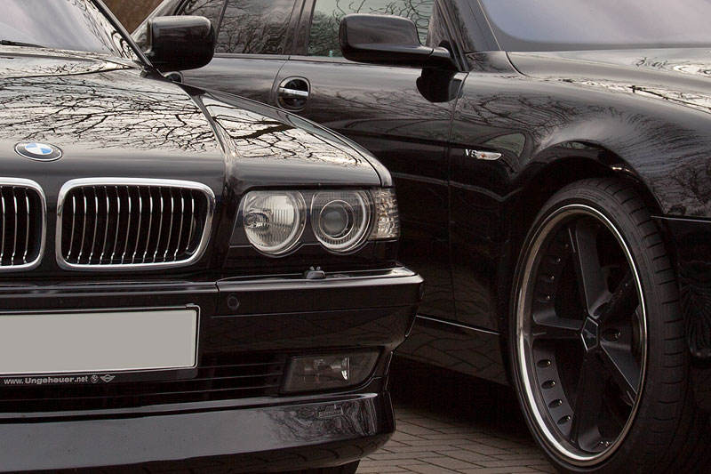 BMW 750i (E38) von Peter ('peter-express') neben dem 750i (E65 LCI) von Ingo ('Black Pearl')