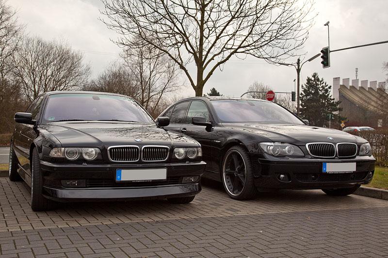 Rhein-Ruhr-Stammtisch im Februar 2012: BMW 750i (E38) von Peter ('peter-express') und BMW 750i von Ingo ('Black Pearl')