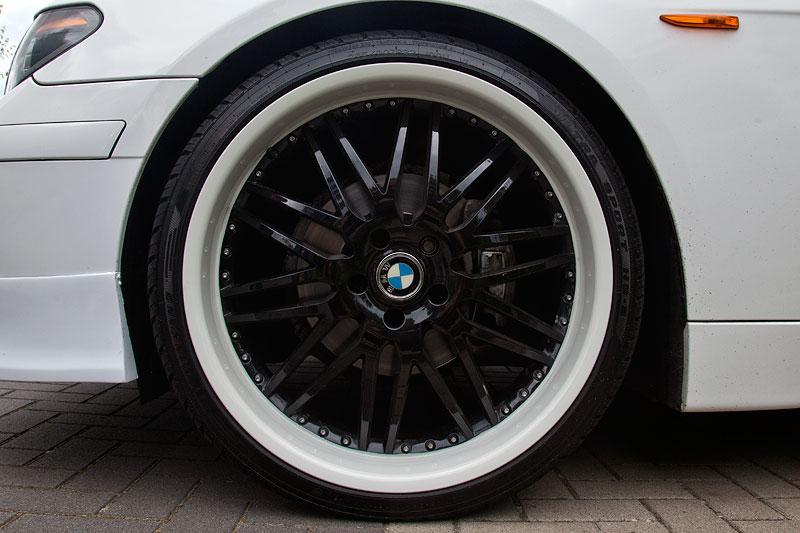 Mächtige 22 Zoll Räder (265/30 ZR 22 vorne) vom BMW X6 auf dem BMW 730d (E65) von Dennis ('Dennis730d')