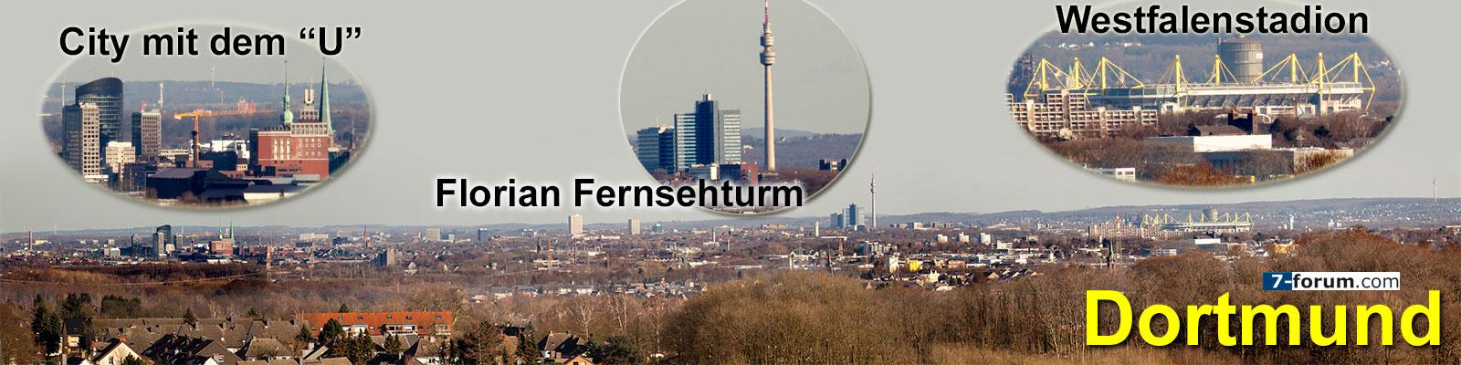 Skyline von Dortmund, gesehen vom Förderturm der Zeche Zollern