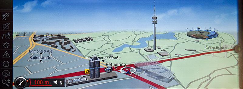 Lage der BMW Konzernzentrale, gesehen auf einem BMW-Navigationssystem (Oktober 2010)