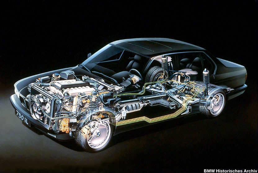 Technik der BMW 7er-Serie (E32) in einer Explosionszeichnung