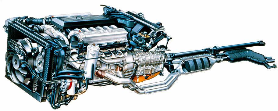 BMW 12 Zylindermotor mit Nebenaggregaten, Automatikgetriebe und Auspuffanlage
