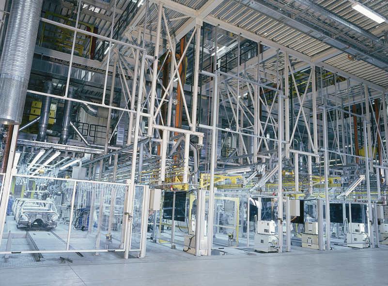 Rahmenstruktur im Karosseriebau des 7er BMW (E65) im BMW-Werk Dingolfing