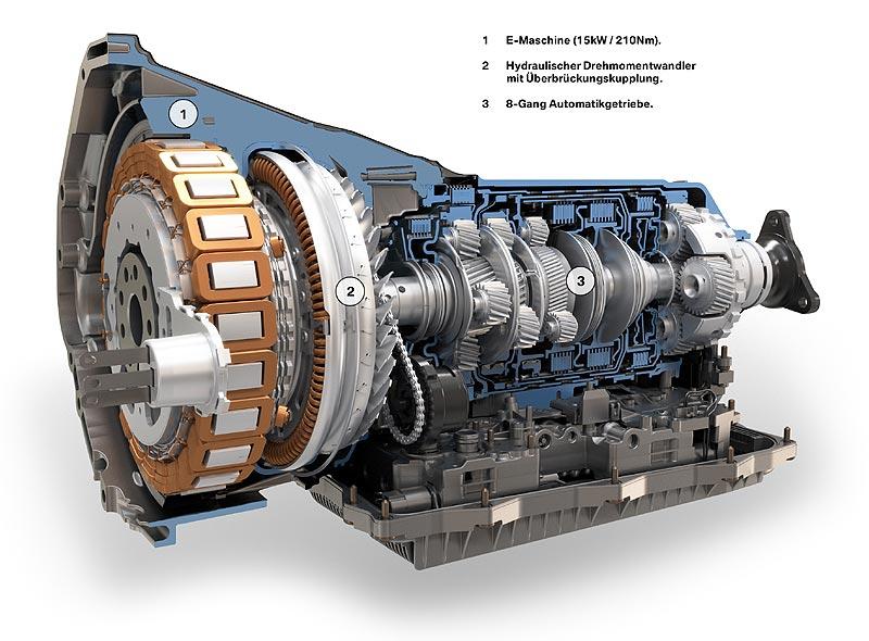 BMW ActiveHybrid 7, E-Maschine, Hydraulischer Drehmomentenwandler und 8-Gang-Automatikgetriebe