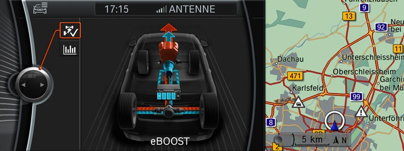 BMW ActiveHybrid 7, Split-Screen mit ActiveHybrid Informationen