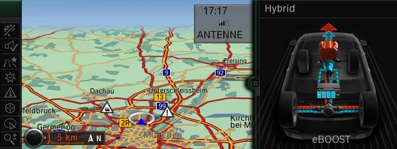 BMW ActiveHybrid 7, Split-Screen mit ActiveHybrid Informationen