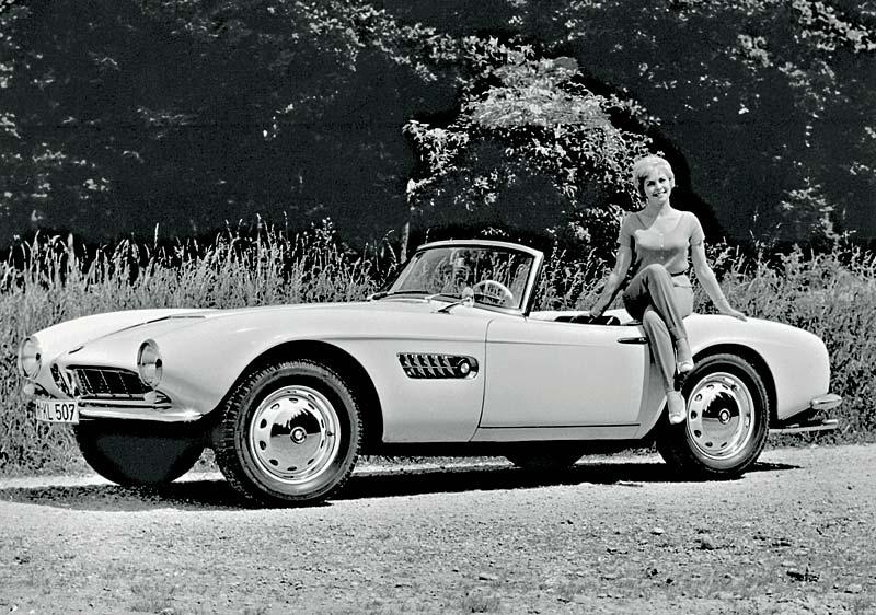 BMW 507 mit Fotomodell