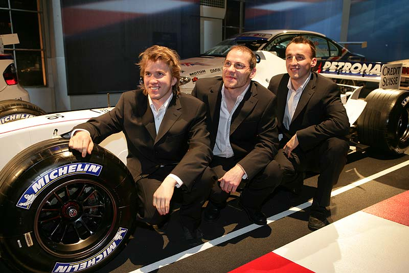 Nick Heidfeld, Jacques Villeneuve und Robert Kubica, BMW Sauber F1 Team Fahrer 2006