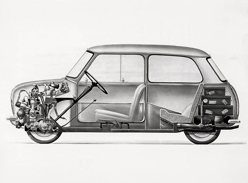 Austin Seven / Morris Mini-Minor Längsschnitt, 1959