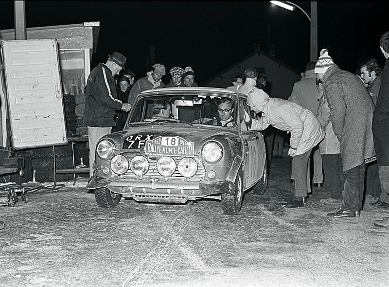 Aaltonen/Liddon bei der Rallye Monte Carlo 1968 auf Mini Cooper S (3. Platz)
