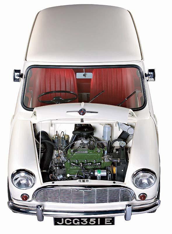 Mit einem quer eingebauten Frontmotor überraschte der Morris Mini-Minor 1959 die Öffentlichkeit