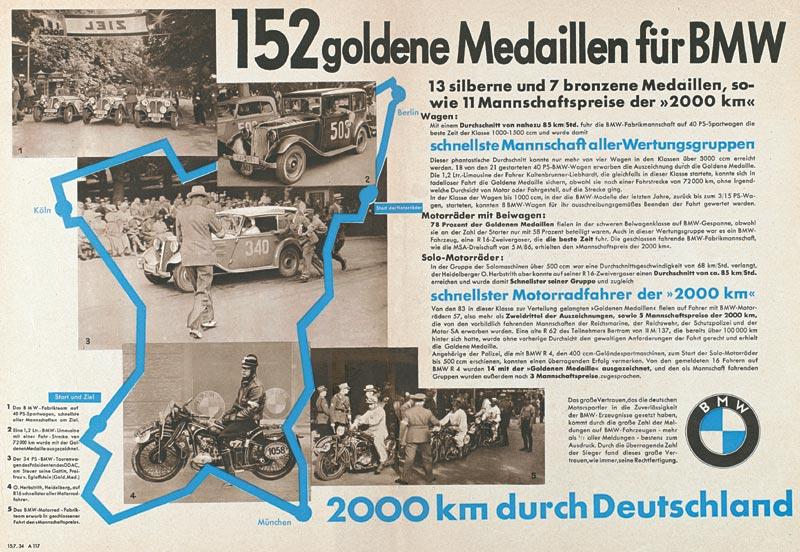 """Plakat """"152 goldene Medaillen für BMW"""", 1934"""