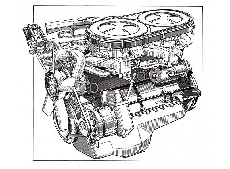 BMW 2500 Motor, berühmt für seinen turbinenartigen Lauf, 1968
