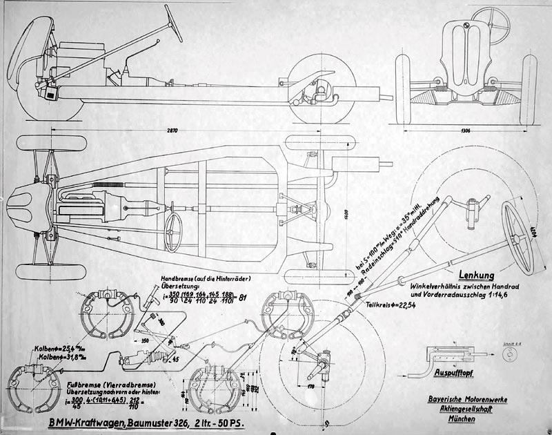 BMW 326, schematische Darstellung des Fahrwerks, 1936