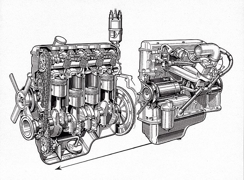 """Vierzylinder-Motor für die Fahrzeuge der """"neuen Klasse"""", ab 1962Vierzylinder-Motor für die Fahrzeuge der """"neuen Klasse"""", ab 1962"""