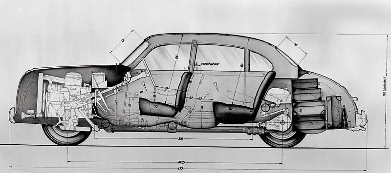 Längsschnitt BMW 501, 1952