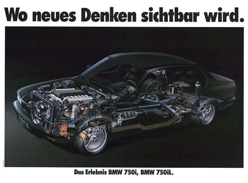 """Plakat """"Wo neues Denken sichtbar wird - das Erlebnis BMW 750i, BMW 750iL"""", 1987"""