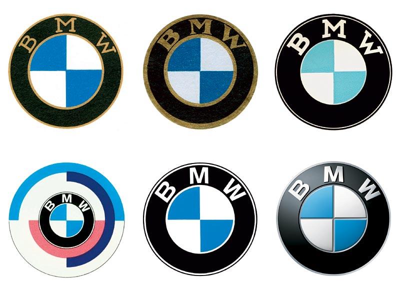 BMW Bildzeichen in chronologischer Reihenfolge: 1917, 1933, 1954, 1974, 1979, 2007