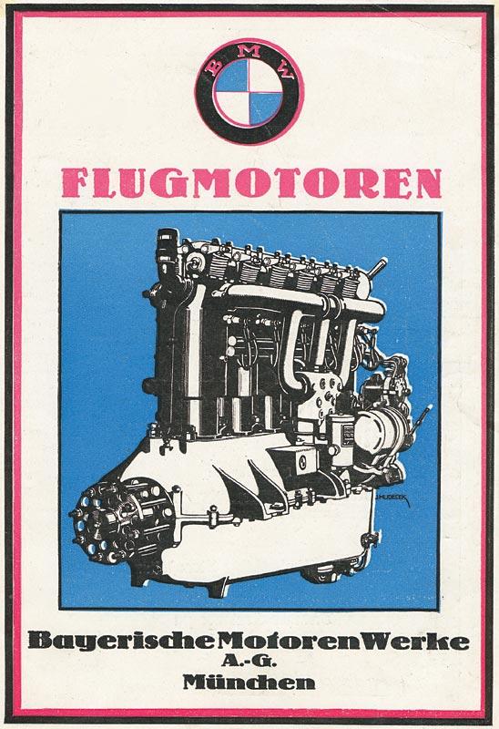 Werbemotiv für BMW Flugmotoren mit Zeichnung des BMW IIIa Flugmotors, 1925