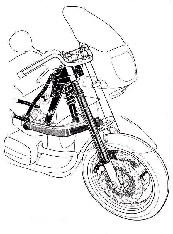 BMW R 1100 RS Vorderachse - Telever, Zeichnung, 1992
