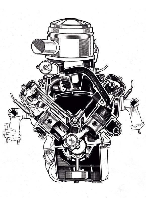 der erste V8 Motor mit Vollaluminiummotorblock, 1954
