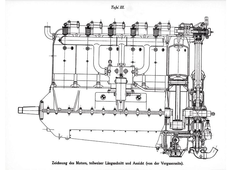 Zeichnung des ersten BMW Motors IIIa, 1917