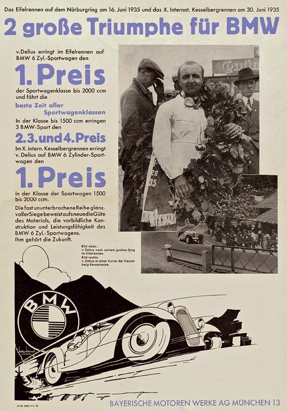 """Plakat """"2 große Triumphe für BMW"""", 1935"""