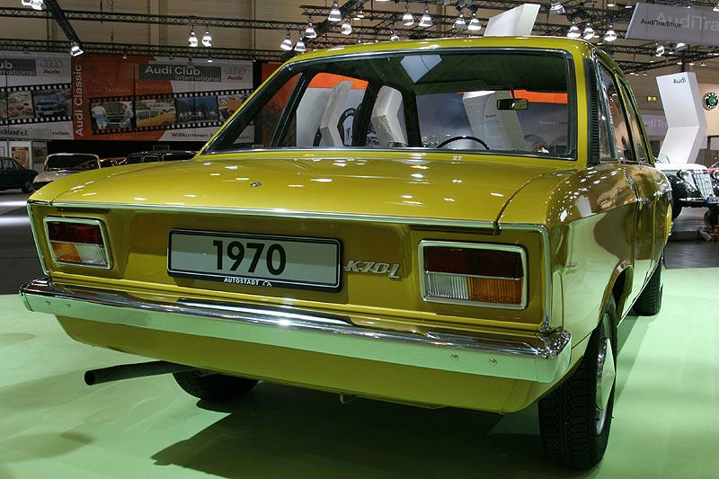 VW K 70, wassergekühlter 4 Zyl.-Motor, 1.605 cccm, 75 PS, 1.060 kg, 158 km/h, 9.450 DM (1970)