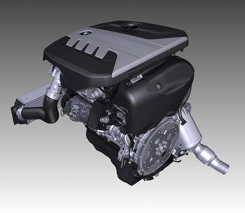 Die neue BMW 5er Limousine, BMW 520d Motor, BMW 4-Zylinder-Dieselmotor mit Vollaluminium-Kurbelgehäuse, Turboaufladung und Common-Rail-Direkteinspritzung