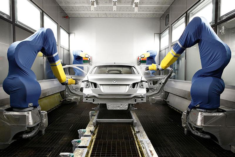 Die neue BMW 5er Limousine, Produktion im Werk Dingolfing, Lackierung