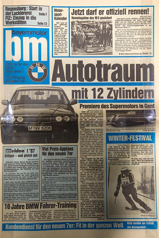 eine BMW-Mitarbeiterzeitung berichtete 1987 über die zweite BMW 7er-Reihe E32 mit V12 Motor