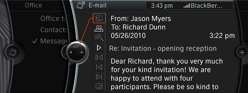 Neue Bluetooth Office-Funktionen von BMW ConnetedDrive - e-Mail Detailansicht