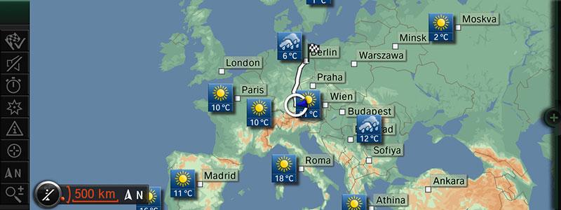 BMW ConnectedDrive: Wetter in Kartenansicht