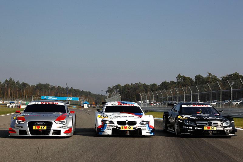 Präsentation des BMW M Performance Zubehör M3 DTM (BMW M3 DTM) mit seinen Wettbewerbern Audi und Mercedes in der DTM in der Saison 2012 am Hockenheimring