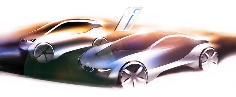 Designskizze BMW i3 und BMW i8