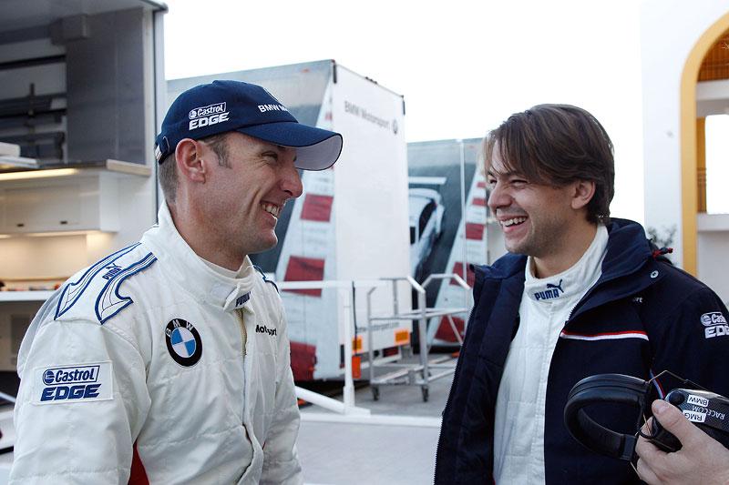 Monteblanco (ES) 17 November 2011. BMW Werks Fahrer Joey Hand (US) and BMW Werks Fahrer Augusto Farfus (BR).