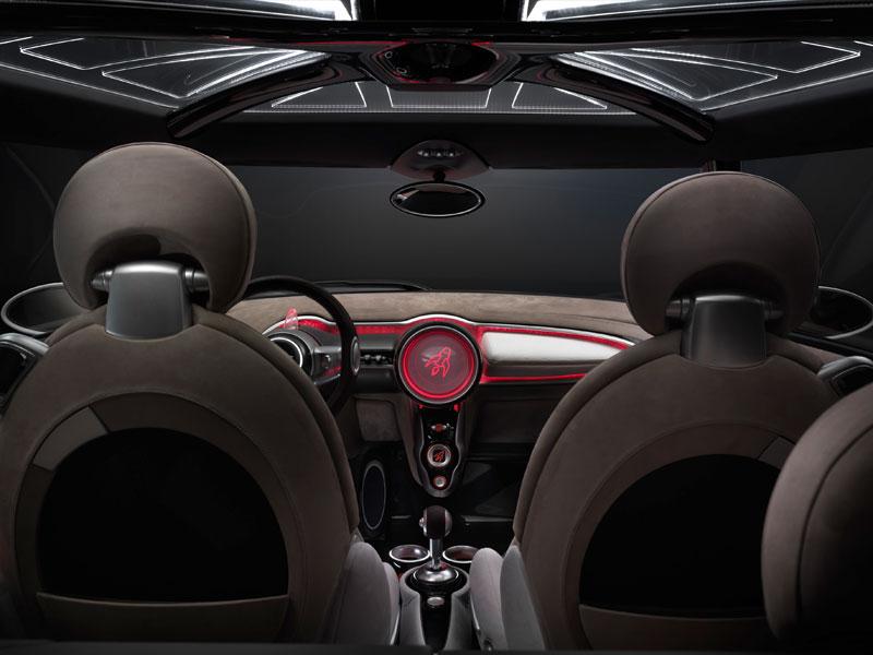 MINI Rocketman Concept, Innenraum, rot beleuchtet.
