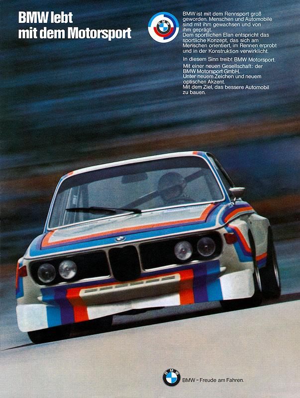 Plakat 'BMW lebt mit dem Motorsport'