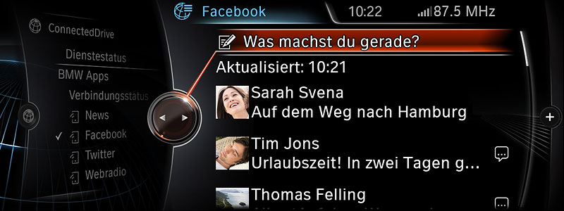 Neue Generation BMW Navigation Professional, Apps Facebook