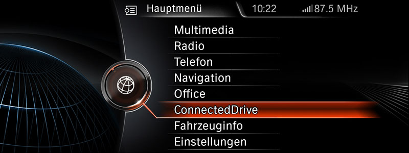 Neue Generation BMW Navigation Professional, Hauptmenü