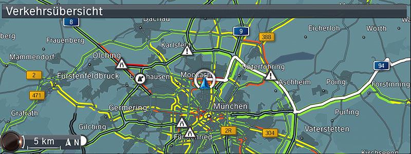 BMW ConnectedDrive, Neue Generation Navigationssystem Professional, Verkehrsübersicht